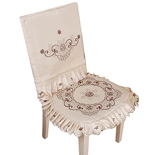 Heshan Cubierta de la silla de la tabla del ganchillo floral de la cubierta de la tabla del cordón beige superposiciones del ganchillo diseño floral para los aparadores Mesas de extremo silla