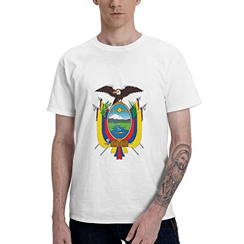 Camisetas de algodón con Cuello Redondo y Manga Corta Coat of Arms of Ecuador