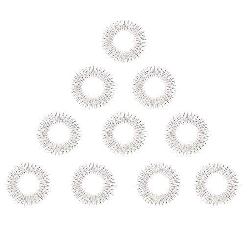10 x Anti Stress Finger Massage Ring, Fingermassage oder Zehenmassage Akupressur Massageringe, Akupressur Massageringe in silber klein, Akupressurring zur Förderung des Blutflusses mit Anleitung