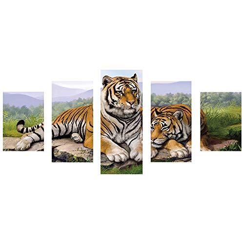 Peinture Diamant Complet 5d DIY, Combinaison 5 Vice - Fleur Tigre Lion Ville - Broderie au Diamant Kit de Point de Croix Décoration de Salon Chambre Lover Cadeau BaZhaHei(45x95cm,Tigre)