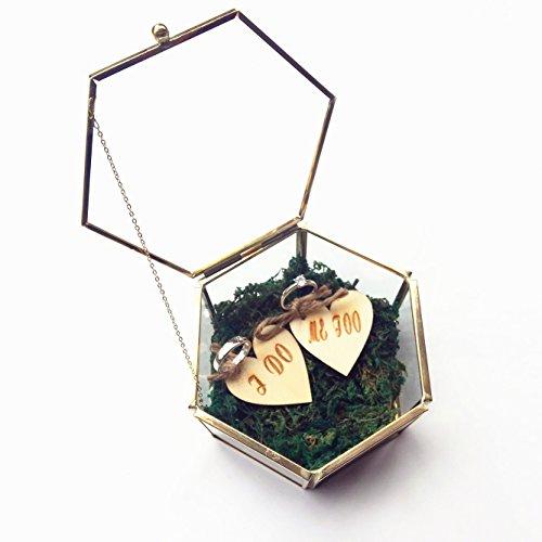 Sechseckiges Ringkästchen für Hochzeitsringe/Verlobungsringe mit zwei herzförmigen Anhängern mit Aufschrift