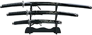 Master Cutlery 3 Piece Dragon Samurai Sword Set with Stand
