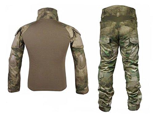 Los hombres del ejército militar Airsoft Paintball war-game disparos Gen2 G2 táctica – Pantalones para uniforme de combate Camisa y pantalones traje con protector coderas y rodilleras en FG, AT FG: Amazon.es: