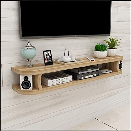 Tv-meubel, drijvend, wandconsole, tv-meubel, multimedia-console, audio-/videoconsole, open opbergruimte, woonkamermeubel, dvd-frame, satelliettv-box, kabelbox, ruimtebesparend 100×20×15cm Een