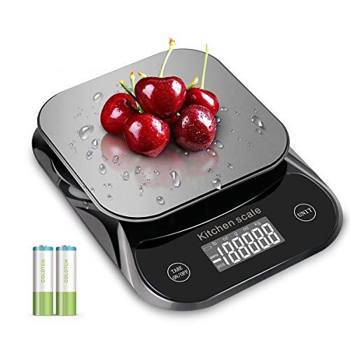 MFEI Lebensmittel wasserdichte Küchenwaage, Edelstahl Haushalt 5 kg Digitale elektronische Küchenwaage mit Tara & Auto Off Funktion , Batterien enthalten (schwarz)