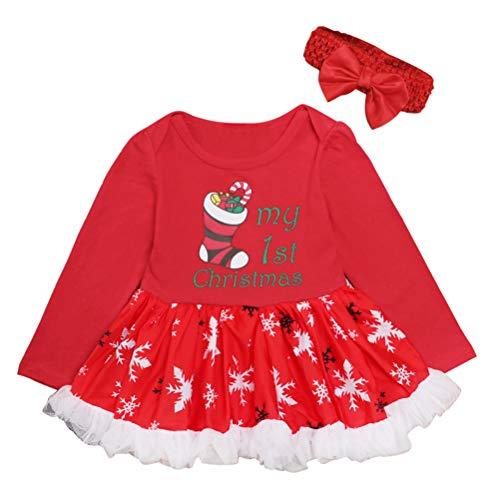 Zhhlinyuan Noël Fête Tenues Costume Tutu Barboteuse Combinaison - Nouveau Née Fille Manche Longue Barboteuse pour Bébé Robes