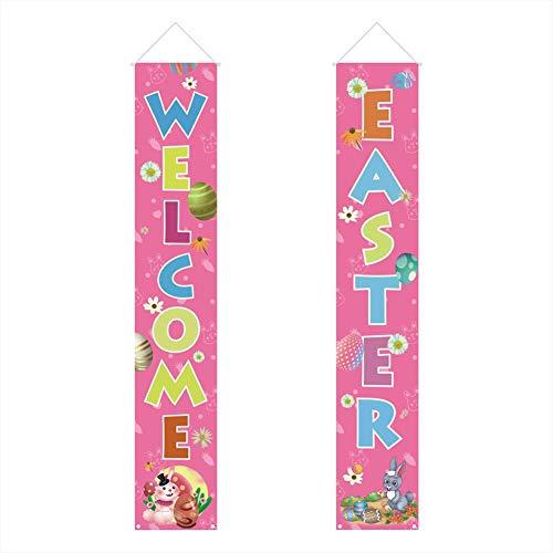 haodene Ostern Banner Ostern Veranda Zeichen Hängend Welcome Happy Easter Kann An Ihre Haustür, Veranda, Balkon, Garten, Vorhänge, Terrasse, Büro Und Hauswände Gehängt Werden Designer