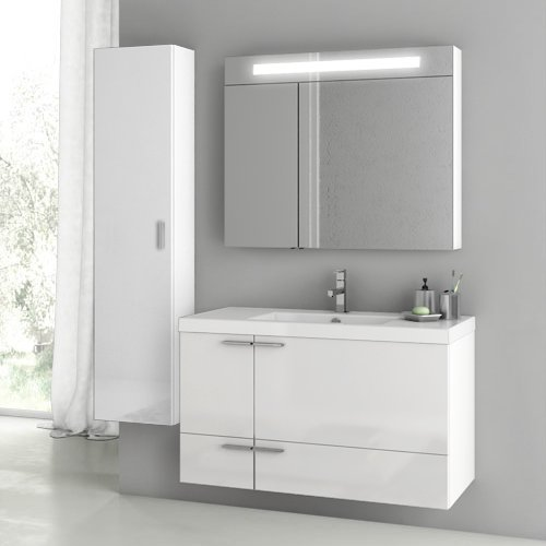 Best Price ACF ANS188-637509932206 New Space Collection Vanity Set, Glossy White