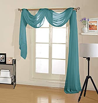Scarf Sheer Voile 37x216 Window Premium Quality Home Event Designs Beautiful Elegant Solid Topper Long Treatment Scarves Decorative Wedding Valance Curtain Living Room Bedroom Ceremony  TEAL
