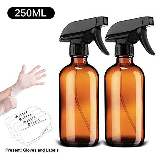 JF JOXFA Leere Zerstäuber Glas 250 ML, Nachfüllbar Zerstäuber Pflanzen öl Sprühflasche Braunglas Leer Feinnebel Nebel-und Strahlmodi Zerstäuber für ätherische Öle, Parfüm, Reinigung (2 Packungen)