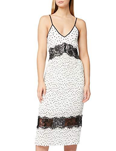 Marca Amazon - TRUTH & FABLE Vestido Midi de Lunares con Encaje Mujer, Marfil (Spot Off-white), 34, Label: XXS