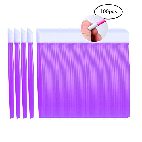 Laza 100 Pcs Plastic Nail Art Tool Handle Tipped Rubber Cuticle Pusher and Nail Cleaner - Purple