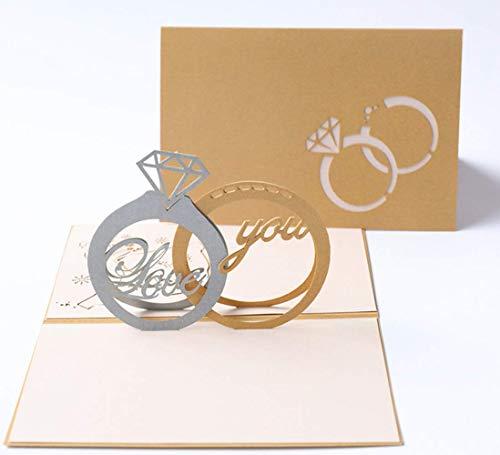 Apanphy® San Valentín 3D Amor Tarjeta Love Card, Creativa Tarjeta de Felicitación Aniversario Tarjeta Boda Invitación Tarjetas Regalo Papel Pop-up Tarjeta de Amor con Sobre (A)