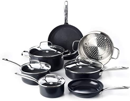 GreenPan Prime Midnight Healthy Ceramic Nonstick Cookware Pots and Pans Set 11 Piece Black product image