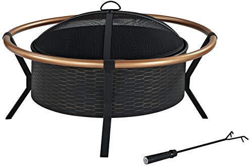 Best Prices! Crosley Furniture Yuma Outdoor Fire Pit with  Oversized Bowl and Copper Ring - Black an...