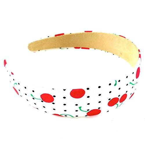 rougecaramel - Accessoires cheveux - Serre tête/headband large imprimé cerises largeur 3cm - rouge