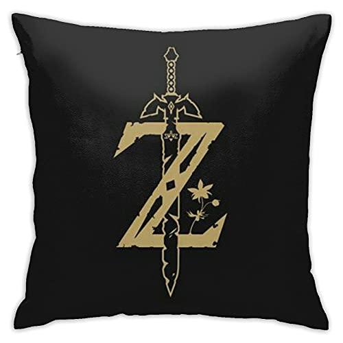 Kingam Game - Federa per cuscino con motivo cartoni animati leggenda di Zelda, super morbida, per decorare la casa, con cerniera invisibile, 45 x 45 cm