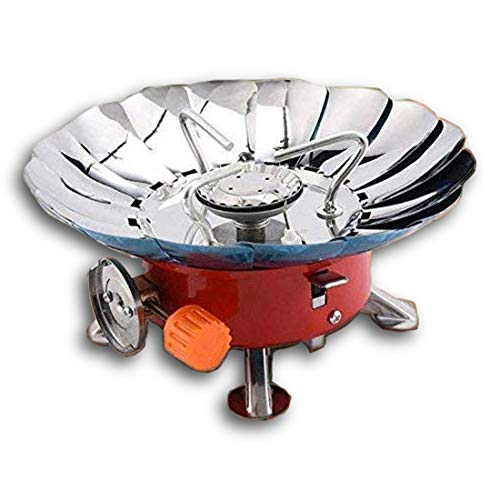 Divinext Ultra-light Small Volume Round Folding Camping Butane Gas Stove Burner with Storage Bag, Iron, 14.5 x 14.5 x 12, Red