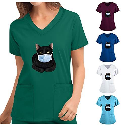 Mingtu Damen V-Ausschnitt Kasack mit Taschen Schlupfkasack Tops Pflege mit Katze Motiv Kurzarm Berufskleidung Basic Schlupfhemd