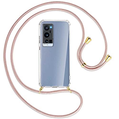 mtb more energy® Handykette kompatibel mit vivo X60 Pro Plus 5G (6.56'') - roségold/Gold - Smartphone Hülle zum Umhängen - Anti Shock Full TPU Hülle