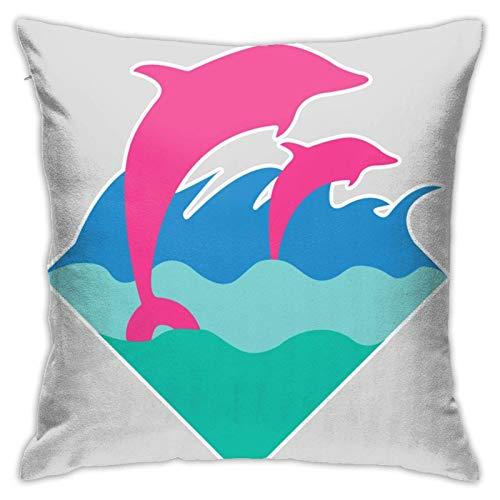AEMAPE Sky-Flower Pink Dolphin.PNG Fundas de cojín Decorativas para Cojines para niñas y Mujeres, Bonitas Fundas de Cojines para sofá, Dormitorio, Coche, 18 x 18 Pulgadas