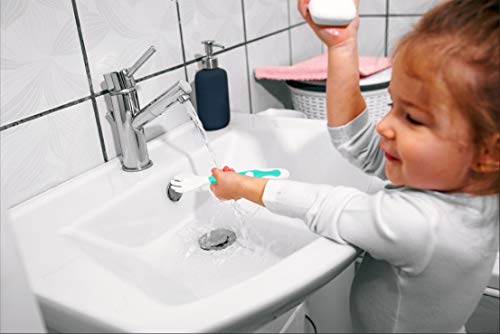 Qshare赤ちゃん用スプーンフォークセット 把持して曲げる機能 幼児用スプーンフォークケース付き 握りやすい 離乳食 訓練 自分で食べる ベビースプーン (ミント)