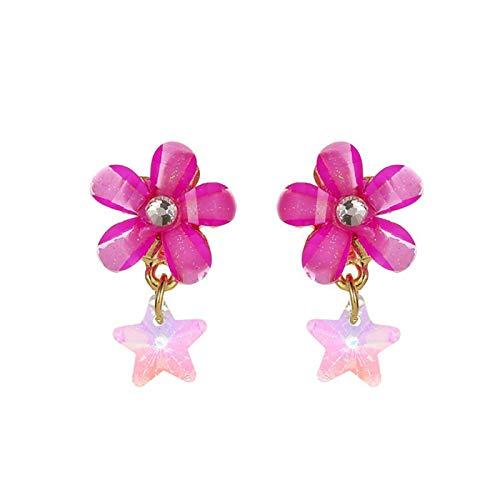Ruby569y - Pendientes largos geométricos para niñas, diseño de flores de cristal sintético, elegantes pendientes de oreja para día de fiesta y día de fiesta