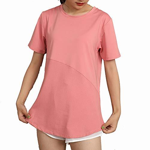 BESIDE STAR Camiseta de Manga Corta Transpirable para Mujer Tops de Yoga de Secado rápido Camisetas de Cuello Redondo para Correr