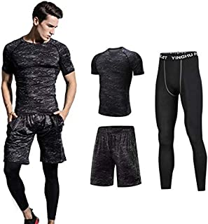 Quick Dry Fitness Running Compression Suits Shirt Pants Short Pack Of 3 For Men XXL