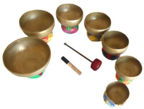 Singing bowl House Tibetan Chakra Singing Bowl Set -Handmade- Authentic Old