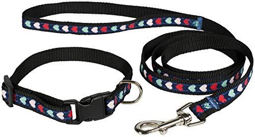 Puccybell Nylon Herzen Hundehalsband und Hundeleine (1,2m) im Set, Herz Design, für kleine und mittelgroße Hunde und Welpen HLS010 (S/M, Schwarz)