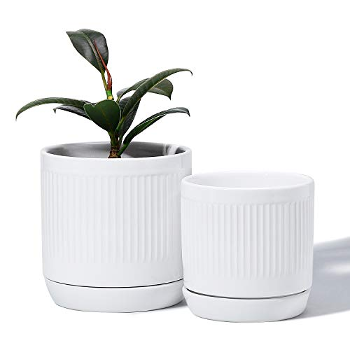 POTEY 053201 Ceramic Planter Pots - Glazed Modern Planters Flower Pot Indoor Bonsai Container with Drainage Holes & Saucer for Plants Aloe( 5.1 + 4.2 Inch, Shiny White, Set of 2, Plants Not Included)