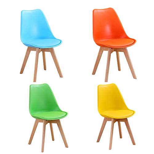 ZHONGXIN 4 Pcs Dining Chair Natural Solid Wood Legs with Cushioned Pad Contemporary Designer for Office Lounge Dining Kitchen (A)