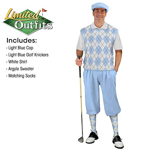 Golf Knickers Sweater Golf Outfits - Mens - Light Blue White - Size: 30 / Large Shirt and Sweater