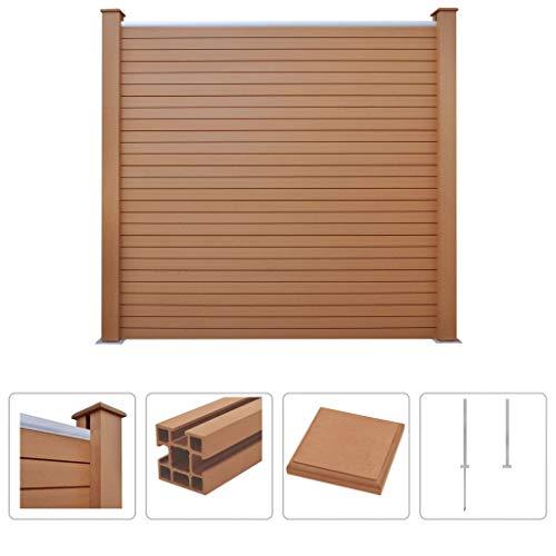 Festnight WPC Zaun-Set | Zaunpaneel-Set | Gartenzaun | Sichtschutzzaun | Dichtzaun | Zaunelemente | Windschutz Zaun | Braun Quadrate 183 x 187 cm