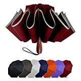 Lejorain Large Reverse Umbrella -50 Inch Windproof Folding Inverted Umbrella - Upside Down with Safety Reflective Strip(Wine red)