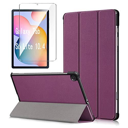 LJSM Custodia + Vetro Temperato per Samsung Galaxy Tab S6 Lite 10.4' P610 / P615 - Pellicola Protettiva, Guscio Supporto Protettiva Tablet Cover in Pelle Flip PU Case - Purple