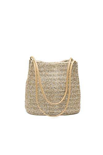 Ulisty Bolsa de Paja Bolsa de Tejido Bolsa de Playa de Verano Bolsa de Hombro Bolso Bolsa de Cubo para Mujeres/niñas Caqui