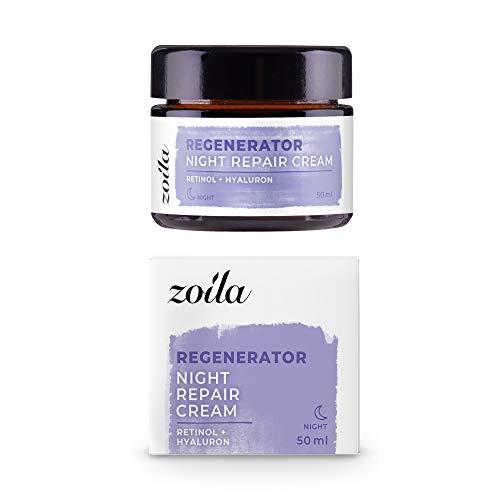 Retinol Creme für Gesicht | 50ml zoila Night Repair Cream | Vegane Nachtcreme Anti Aging mit Retinol & Hyaluronsäure | Premium Anti-Aging Pflege