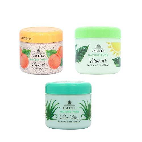 Cyclax Cuidado Facial y Corporal 300ml Albaricoque + Vitamina E + Aloe Vera - Paquete de 3
