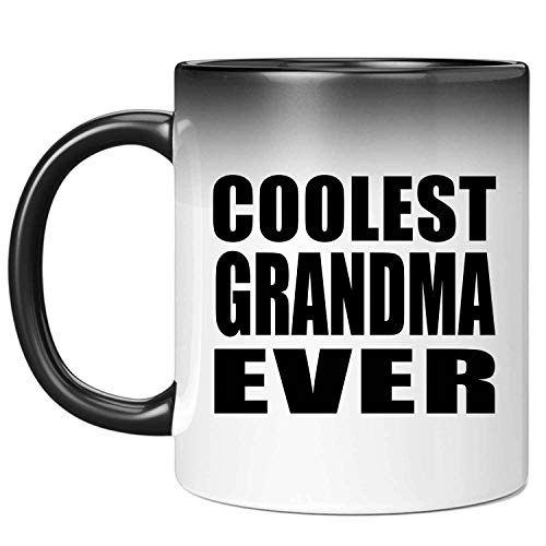 Coolest Grandma Ever - 11oz Color Changing Mug Magic Tea-Cup Heat Sensitive - for Friend Colleague Retirement Graduation Birthday Anniversary Mother's Father's Day