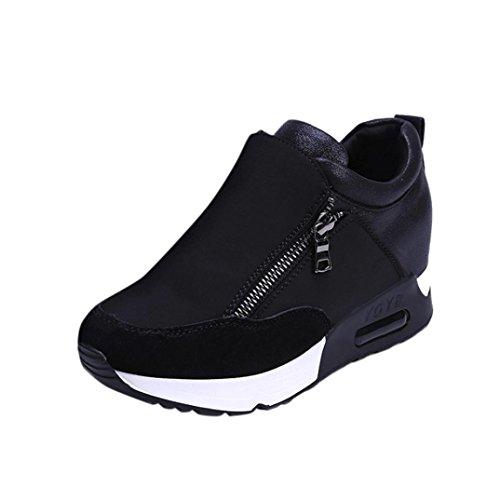Sneakers voor dames, sportieve hardlopende wandelende onderste platformschoenen met ritssluiting.