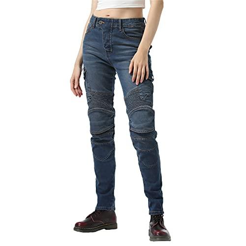 ZGDDPZA Mujer Pantalones Para Motocicleta, Moto Pants Jeans Elasticidad Delgado Antiviento Respirable Anti-caída Con Retirable Rodilleras Armadura Protección (Azul,XXS)