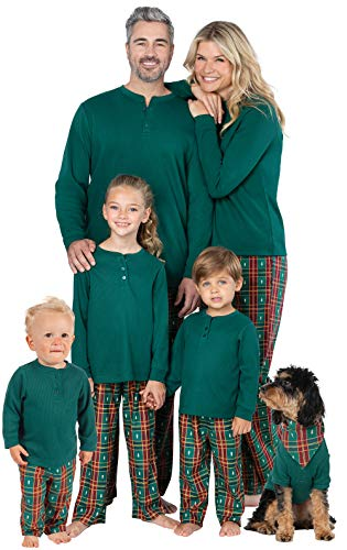 PajamaGram Matching Christmas PJs for Family, Christmas Tree Plaid, 6 Months