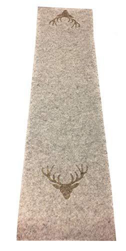 Boltze Tischläufer Tjark Filz beige mit Hirschkopf 120x 30 cm