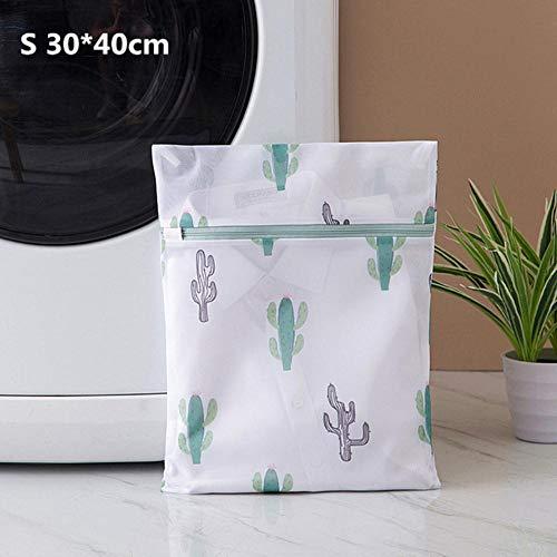 Finer Cactus Afdrukken Waszakken Met Rits Huishouden Sokken Ondergoed Beha Waszak Hoge Kwaliteit Polyester Mesh Wasmanden, S 30-40cm