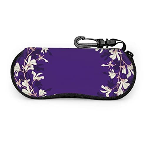 Estuche para gafas, marco floral Magnolia Tree Blossom Purple Gafas de sol Estuche blando Estuche ultraligero para anteojos con mosquetón, Estuche para gafas de sol, 17x8cm