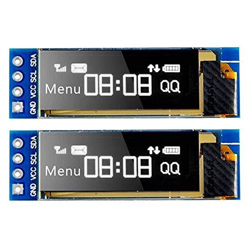 Seamuig I2C - Módulo de pantalla OLED I2C (0,91 pulgadas, 128 x 32 I2C, controlador OLED de CC de 3,3 V a 5 V, para Arduino (2 unidades)
