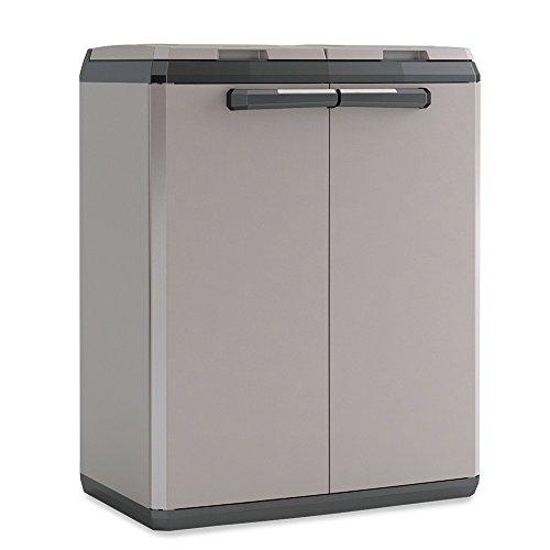 Recyclingschrank für 2X 110 Liter Müllsäcke, aus Kunststoff, Farbe grau/schwarz, BxTxH 680 x 390 x 850 mm