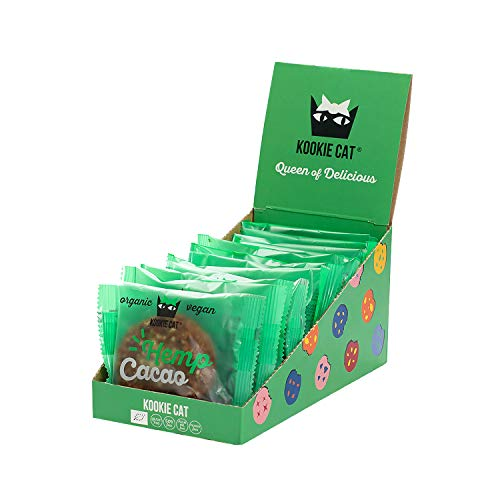 Kookie Cat Hemp Seeds and Cacao, Individually Wrapped Vegan Cookies, Gluten Free, Soy Free, Bio and Organic, Cashew & Oat - 12 X 50gr Multipack